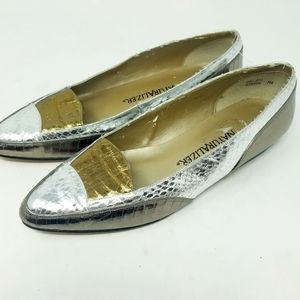 Natutalizer Metallic Leather Silver Flats Loafers